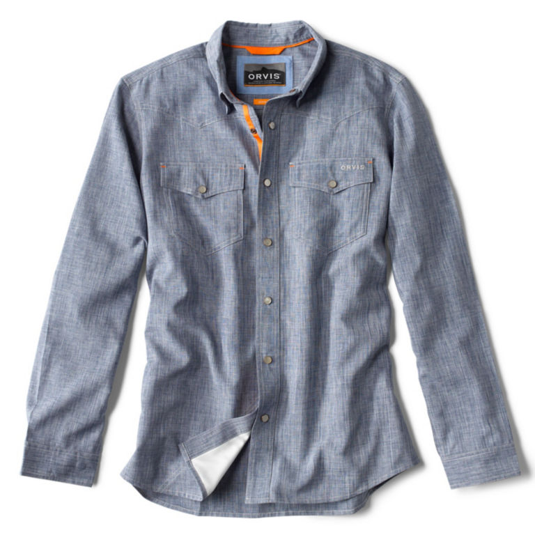 Tech Chambray Western Shirt - BLUE CHAMBRAY image number 0