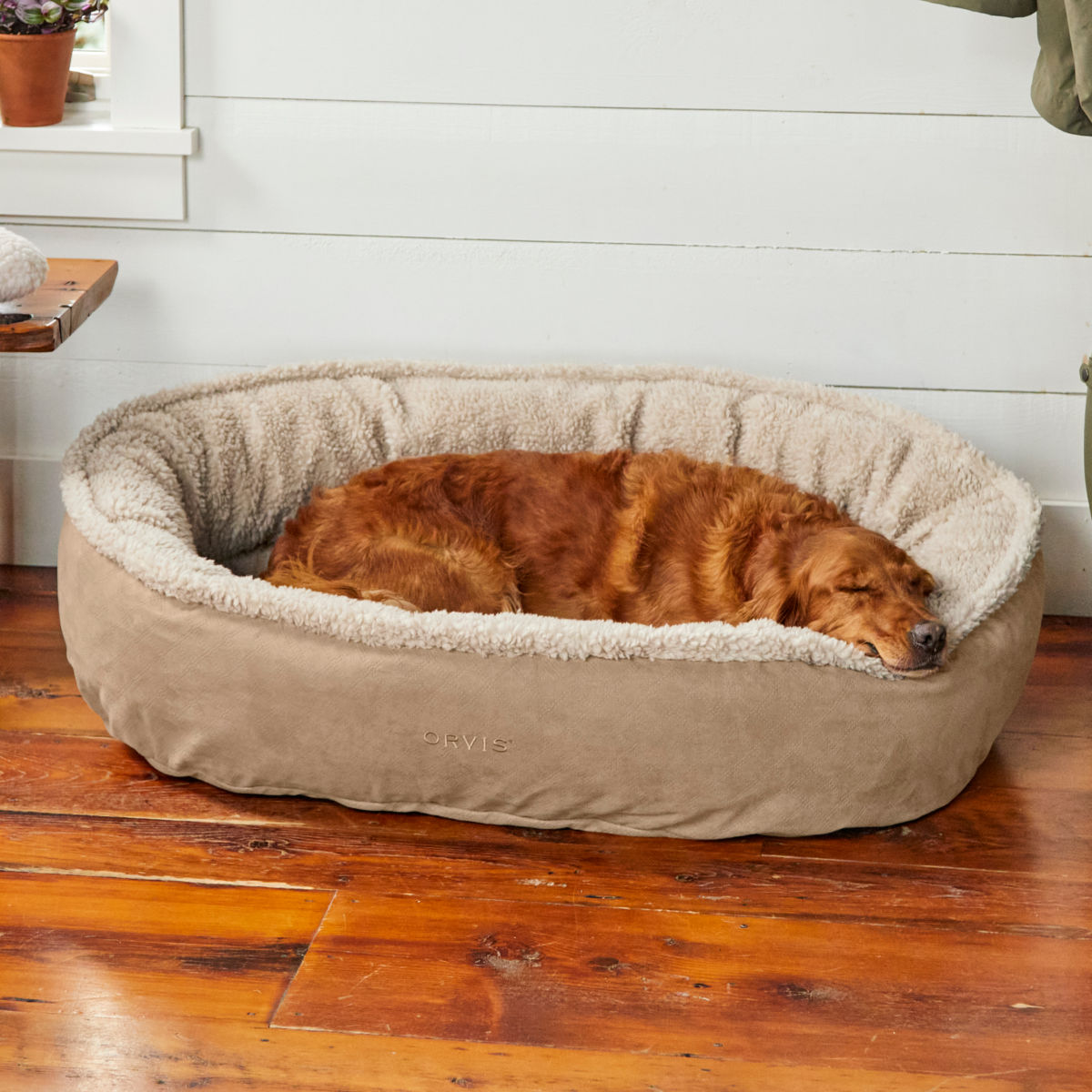 Orvis Memory Foam Wraparound Dog Bed with Fleece - image number 0