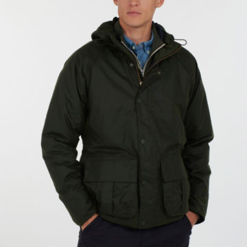 Barbour® Harrow Waxed Cotton Jacket - FOREST image number 1