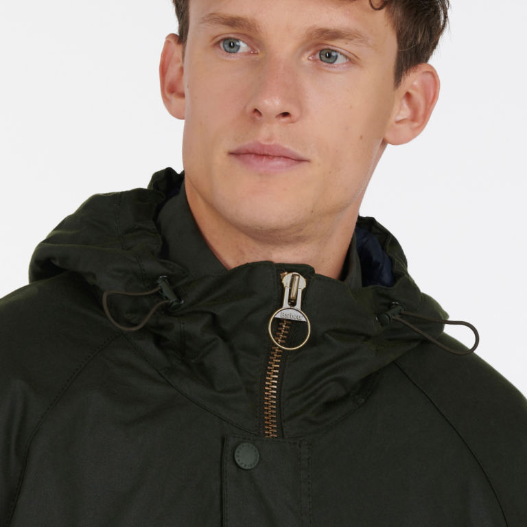 Barbour® Harrow Waxed Cotton Jacket - FOREST image number 3