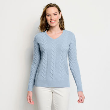 Cashmere Cable V-Neck Sweater -