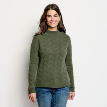 Easy Cashmere Cable Mockneck Sweater -