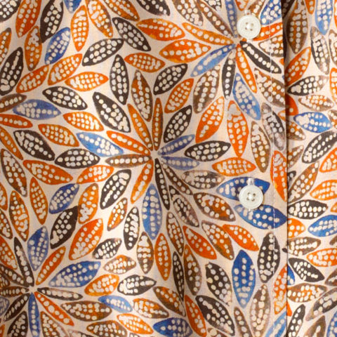 close up of a patterned silk shirt