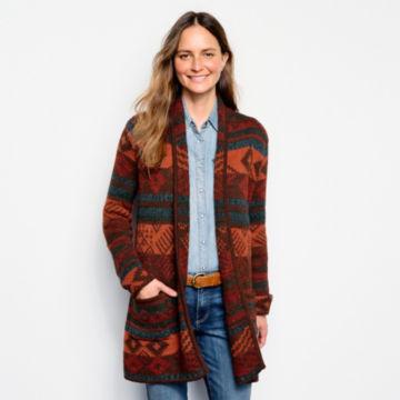 Alpaca Blanket Stripe Cardigan - ADOBE MULTI image number 1