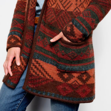 Alpaca Blanket Stripe Cardigan - ADOBE MULTI image number 5