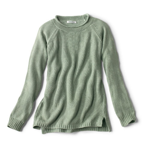 green garment-dyed sweater