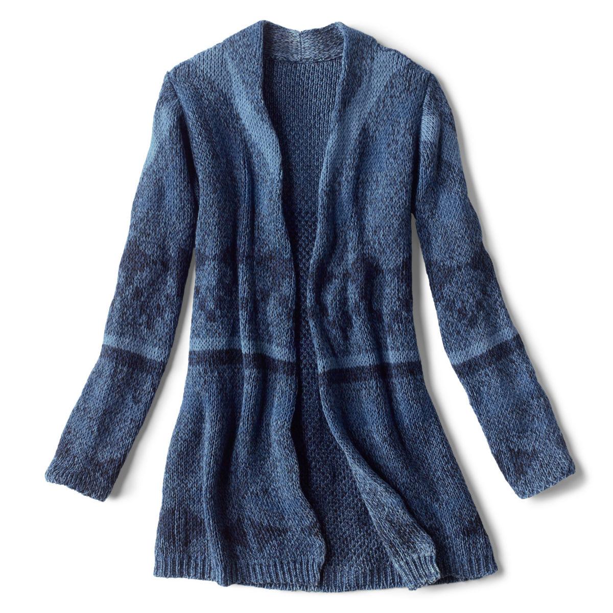Washed Indigo Pattern Cardigan - INDIGO MULTIimage number 0