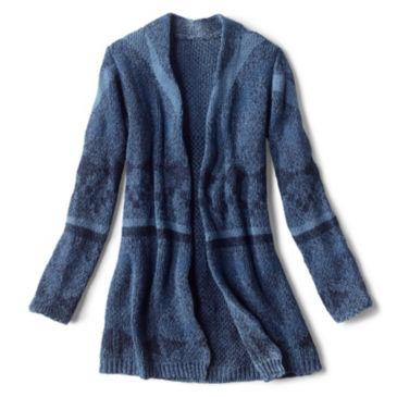 Washed Indigo Pattern Cardigan -