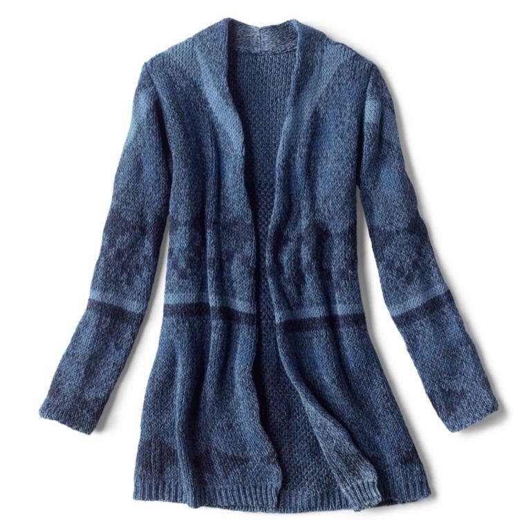Washed Indigo Pattern Cardigan - INDIGO MULTI image number 0
