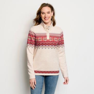 Sherpa-Lined Print Quarter-Snap Sweatshirt -
