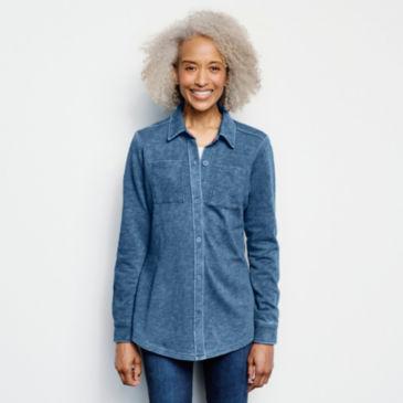 Indigo Knit Shirt Jacket -