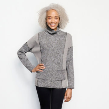 Mixed-Knit Mockneck Sweatshirt - HEATHERED GRAY image number 1