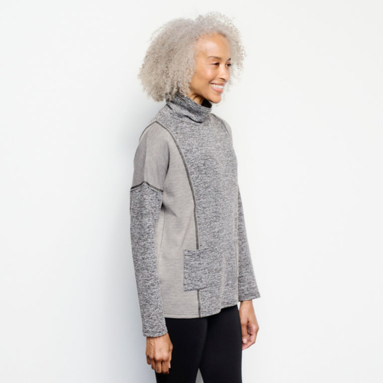 Mixed-Knit Mockneck Sweatshirt - HEATHERED GRAY image number 2