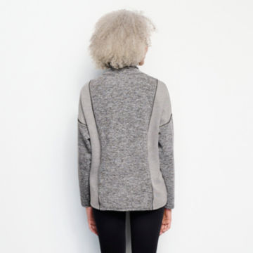 Mixed-Knit Mockneck Sweatshirt - HEATHERED GRAY image number 3