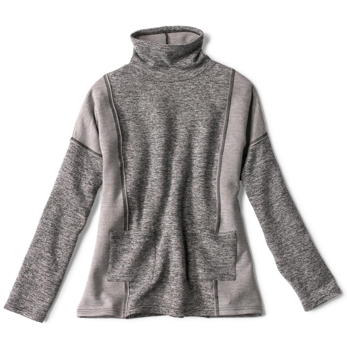 Mixed-Knit Mockneck Sweatshirt - HEATHERED GRAYimage number 0