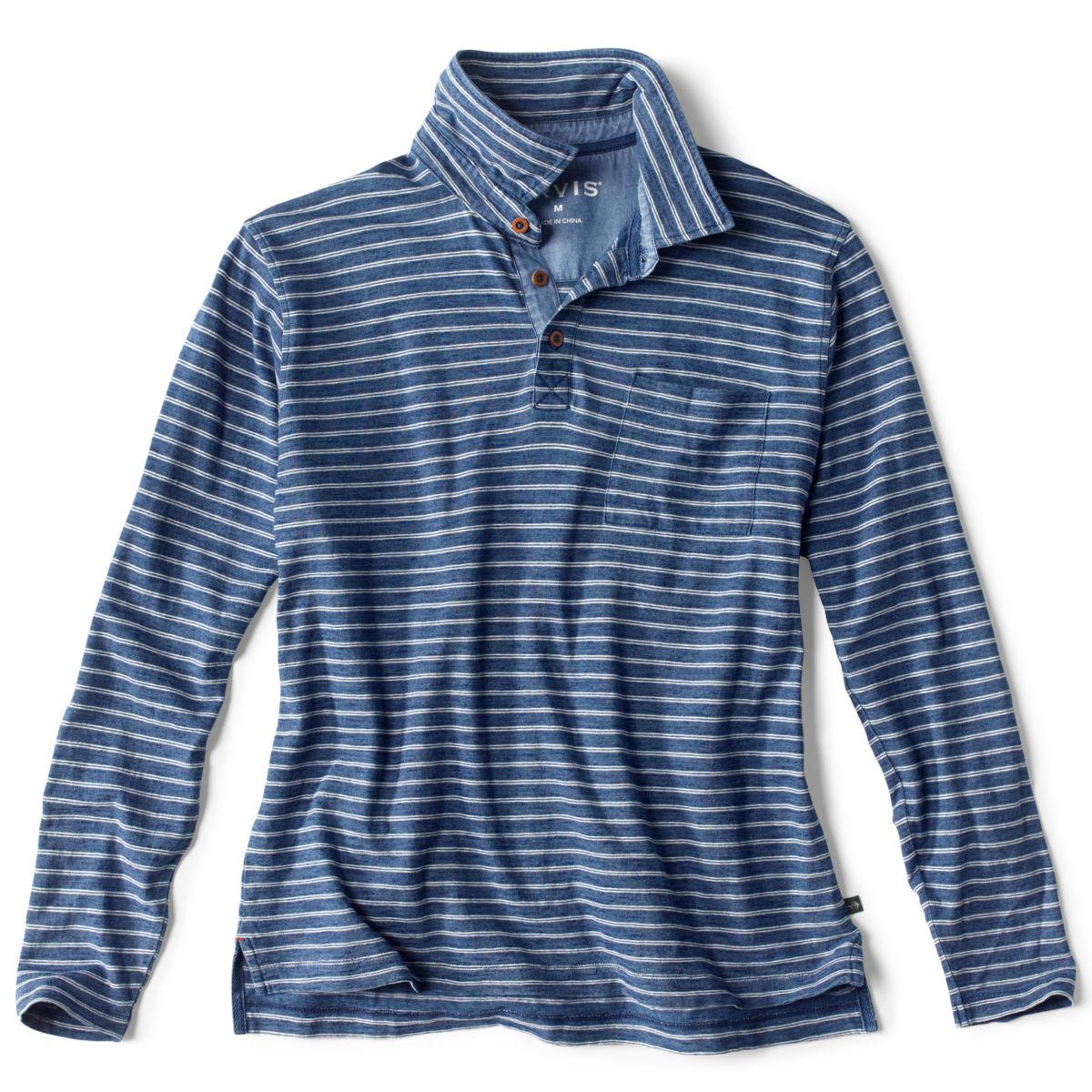 Indigo Stripe Long-Sleeved Polo - INDIGOimage number 0