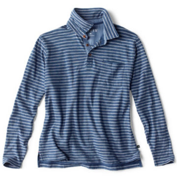 Indigo Stripe Long-Sleeved Polo - INDIGO image number 0