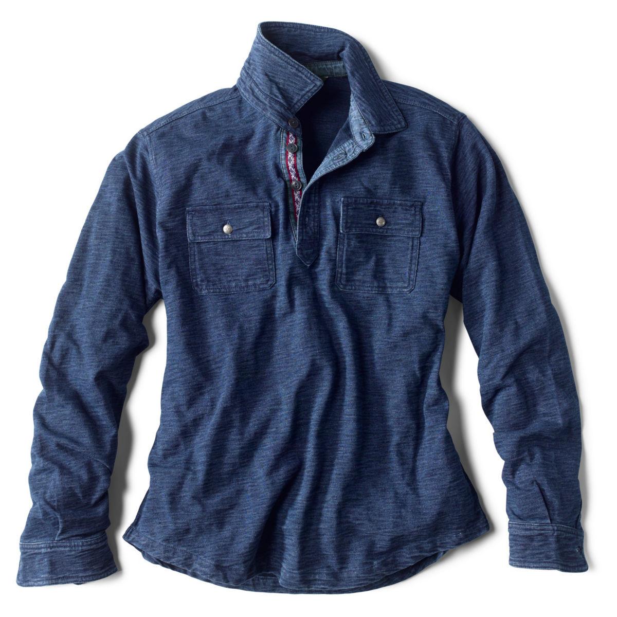 Long-Sleeved Indigo Button Pullover - INDIGOimage number 0