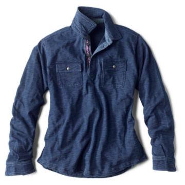 Long-Sleeved Indigo Button Pullover - INDIGO image number 0