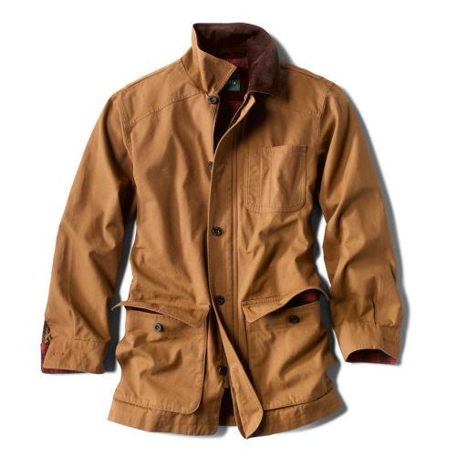 A tan canvas barn coat