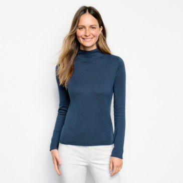 Cotton/Cashmere Donegal Mockneck Sweater -