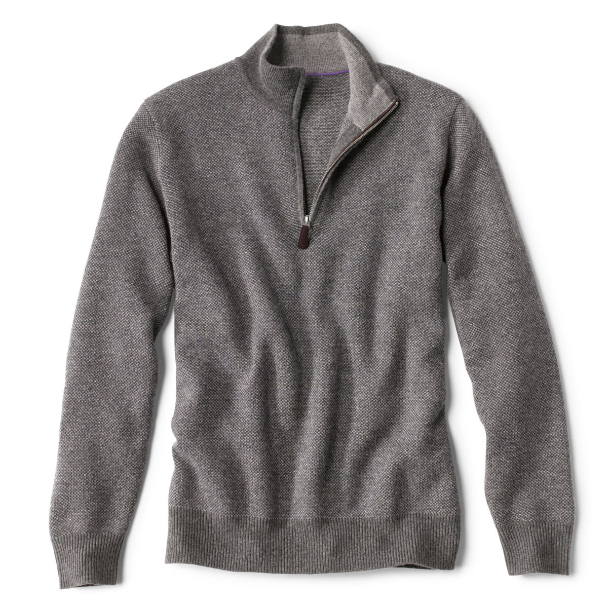 Wool/Cashmere Two-Tone Quarter-Zip - GREYimage number 0