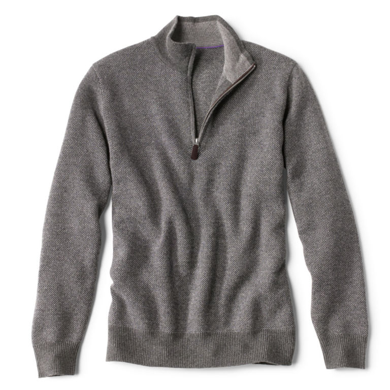 Wool/Cashmere Two-Tone Quarter-Zip - GREY image number 0
