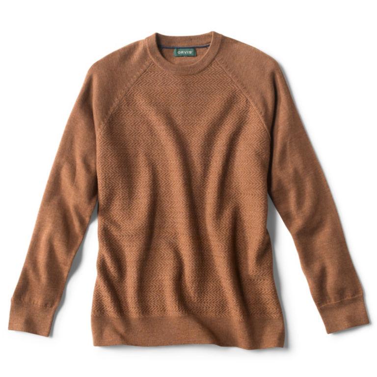 Textured Herringbone Crewneck Sweater - CAMEL image number 0
