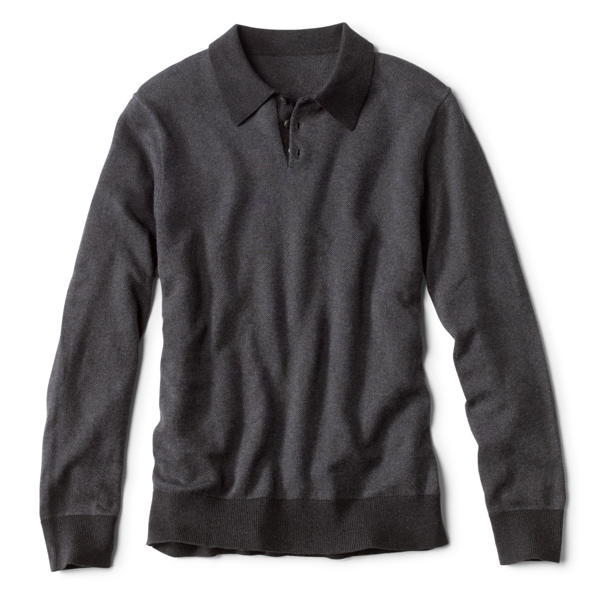 Bird's-Eye Sweater Polo - CHARCOALimage number 0