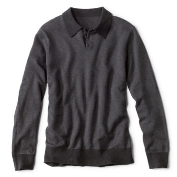 Bird's-Eye Sweater Polo - CHARCOAL image number 0