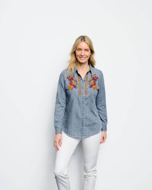 Vintage Western Wear Clothing, Outfit Ideas Multi Embroidered Denim Shirt $119.00 AT vintagedancer.com