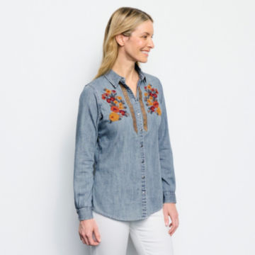Multi Embroidered Denim Shirt -  image number 1