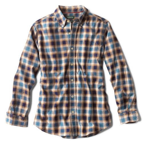 A blue and cream colored plaid button-up shirt.