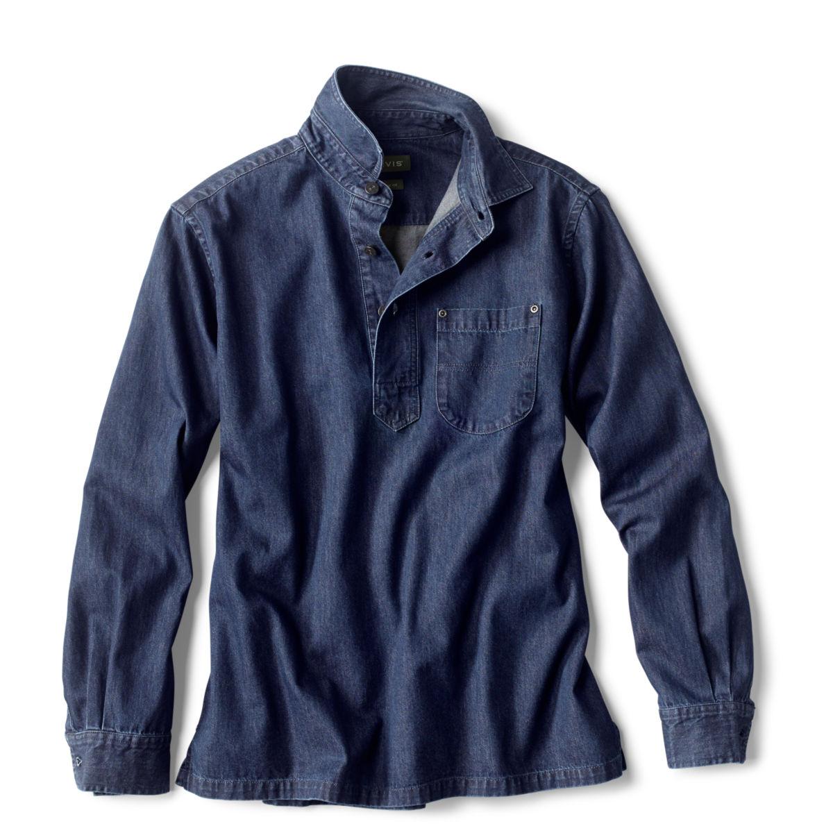 Denim Long-Sleeved Popover - DARK INDIGOimage number 0