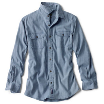 Indigo Houndstooth Comfort Shirt - LIGHT INDIGO image number 0
