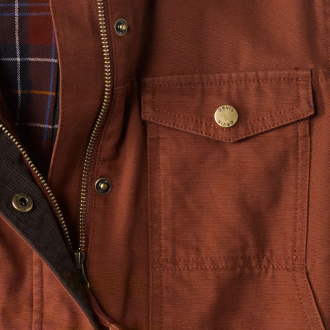 detailed close up of the Orvis Barn Coat