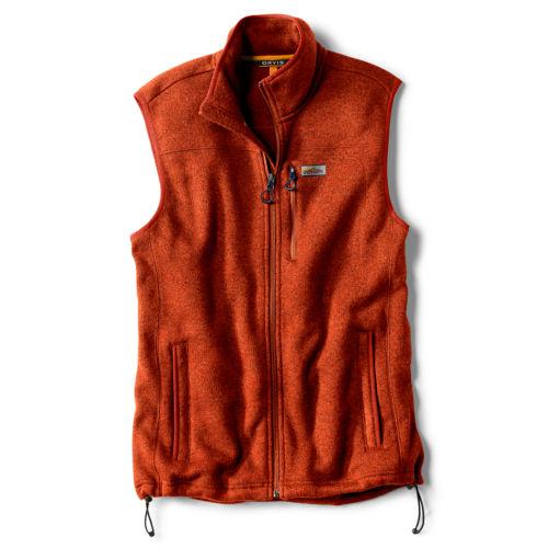 A dark orange fleece vest