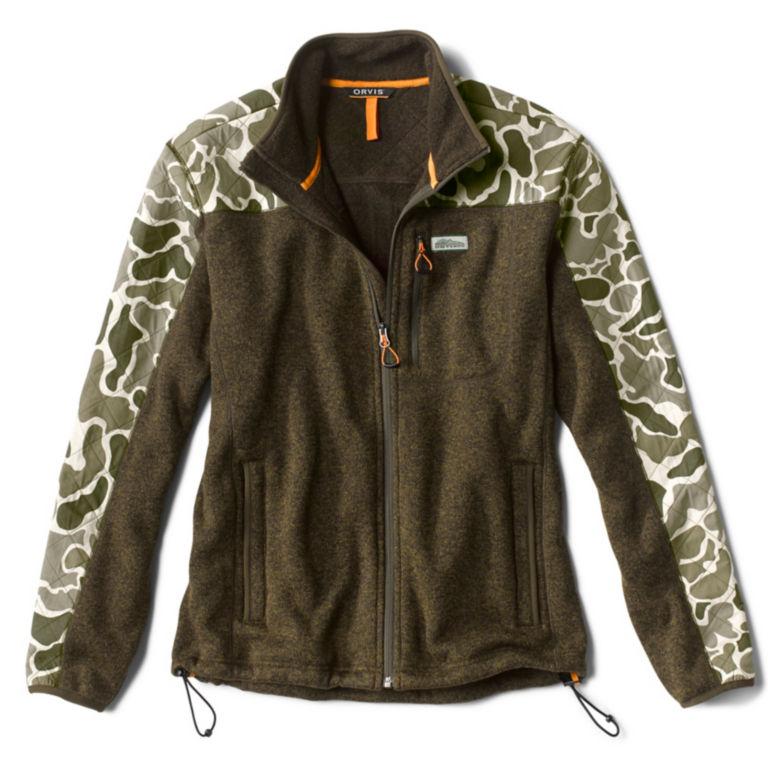 Camo Sweater Fleece Jacket - TARRAGON image number 0