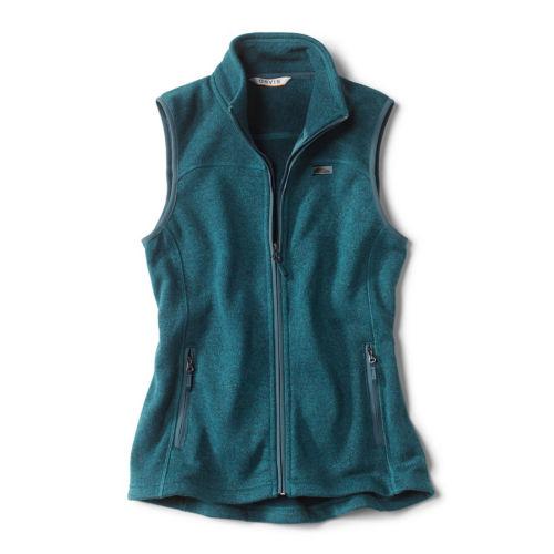 A teal fleece vest
