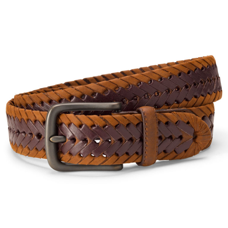 Leather & Suede Braided Belt - BROWN image number 0