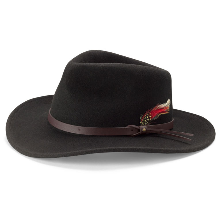 Red Feather Crushable Felt Hat - BLACK image number 0