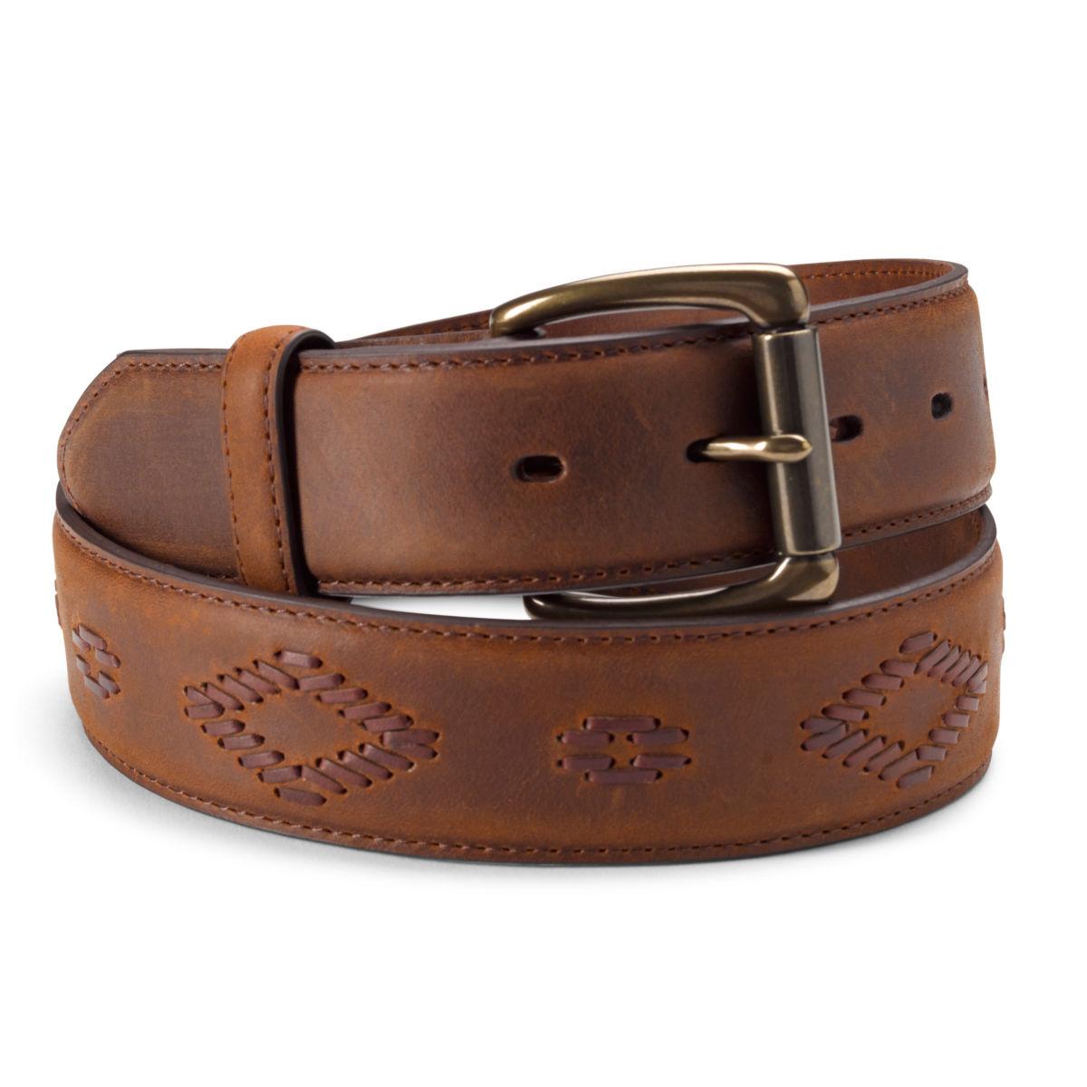 Diamond Cord Leather Belt - TANimage number 0