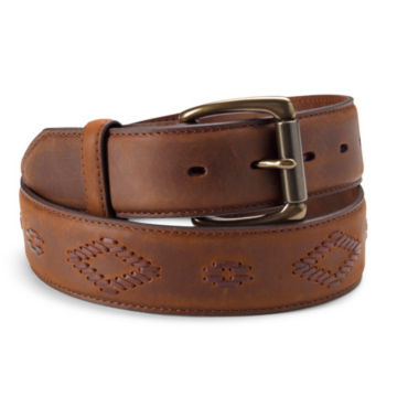 Diamond Cord Leather Belt - TAN image number 0