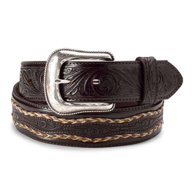 Horsehair & Latigo Belt - DARK BROWN image number 0