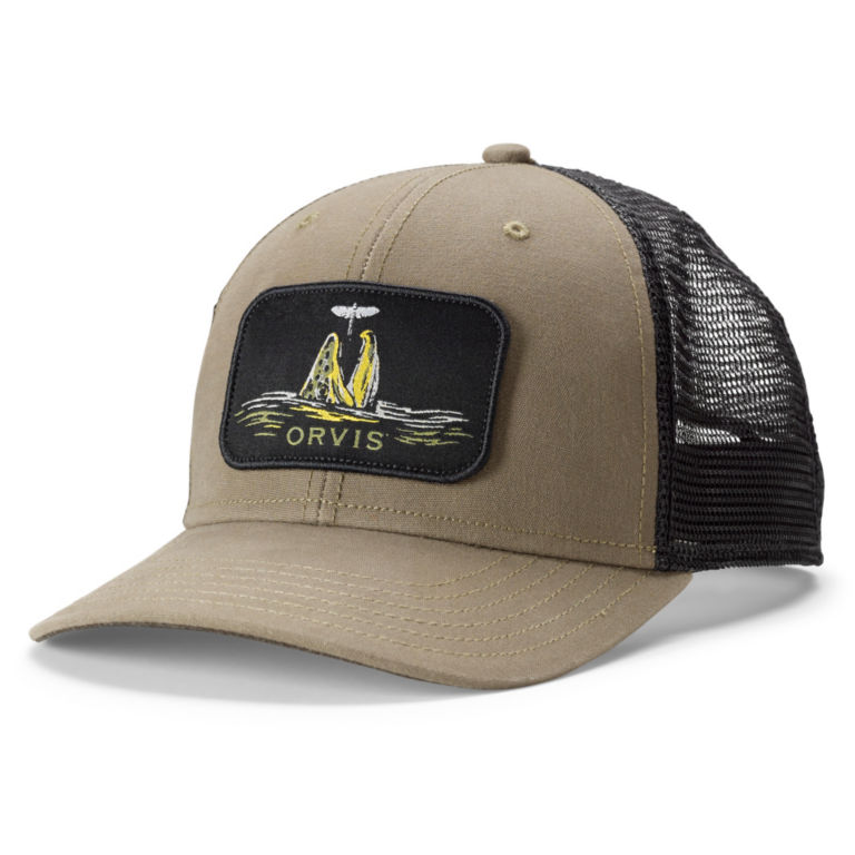 Brown Trout Rise Trucker - OLIVE image number 0
