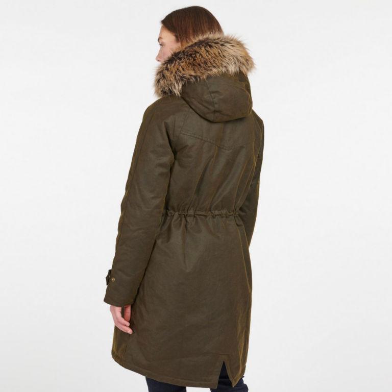 Barbour® Hartwith Faux Fur Hood Parka - OLIVE image number 4