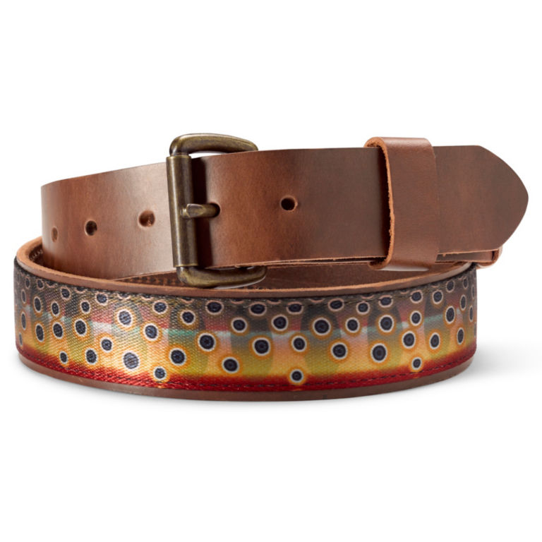 Leather Fish Print Belt - CUTTHROAT image number 0
