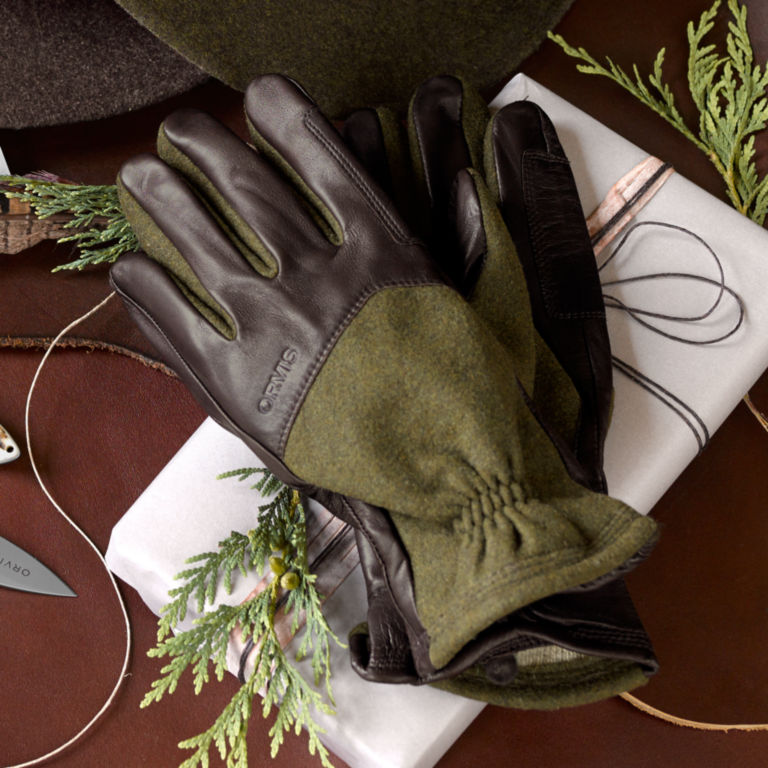 Melton Wool and Leather Gloves -  image number 1