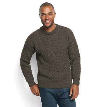 Black Sheep Irish Fisherman's Sweater - BROWN/GRAY image number 1