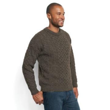 Black Sheep Irish Fisherman's Sweater - BROWN/GRAY image number 2